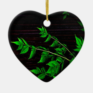 Dark Nature Leaves Double-Sided Heart Ceramic Christmas Ornament
