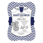 Dark Navy Blue Gray Chevron Baby Shower Invitation