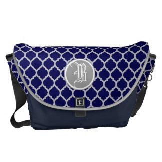 Dark Navy Blue & Gray Quatrefoil Custom Monogram Messenger Bag