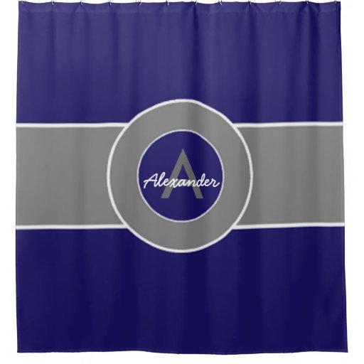 Dark Navy Blue Gray Shower Curtain