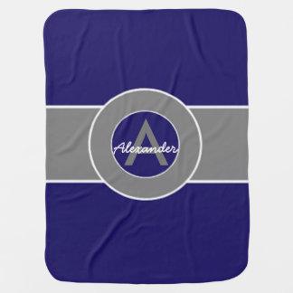 Dark Navy Blue Gray Stroller Blanket