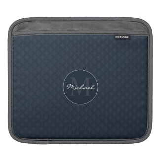 Dark Navy Blue Masculine Personalized Monogram Sleeves For iPads