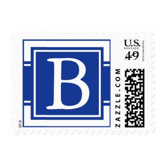 Dark Navy Blue Monogrammed Postage Stamp