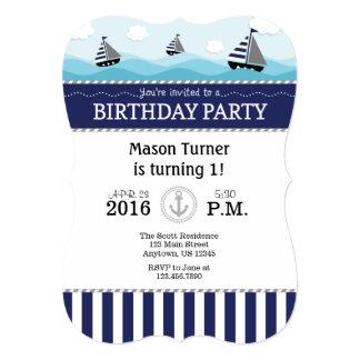 Dark Navy Blue Nautical Birthday Invitation