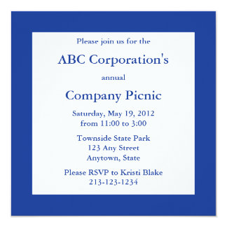 Dark Navy Blue Square Invitation or Announcement