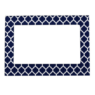 Dark Navy Blue White Moroccan Lattice Magnetic Picture Frame