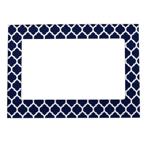 dark navy blue white moroccan lattice magnetic picture frame zazzle. Black Bedroom Furniture Sets. Home Design Ideas