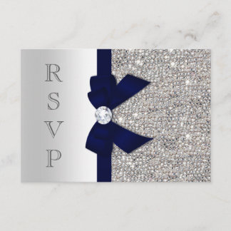 Dark Navy Faux Bow Silver Sequins Diamond RSVP