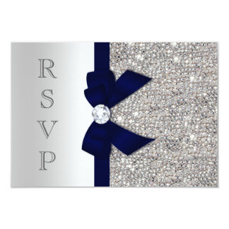 Dark Navy Faux Bow Silver Sequins Diamond RSVP Card