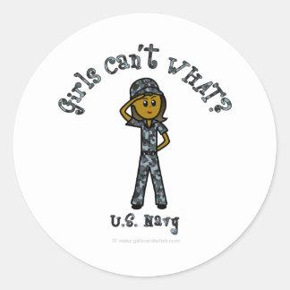 Dark Navy Girl USA Classic Round Sticker