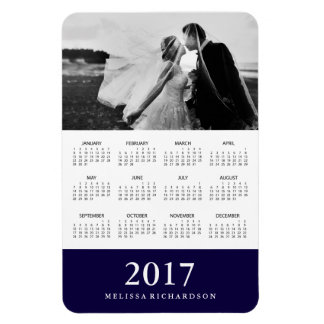 Dark Navy Stripe | Elegant 2017 Photo Calendar Magnet