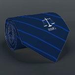"Dark Navy Striped Custom Initials Lawyer Tie<br><div class=""desc"">Elegant navy stripes judicial scales of justice custom initials tie.</div>"