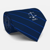 Dark Navy Striped Custom Initials Lawyer Tie