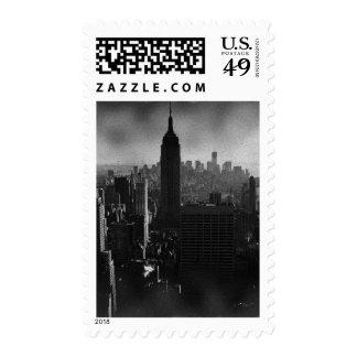 Dark New York City Night Skyline Postage