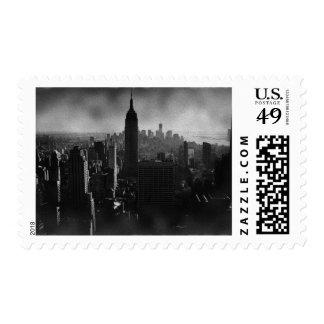 Dark New York City Night Skyline Postage Stamps