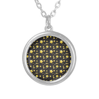 Dark night sky with stars pattern silver plated necklace