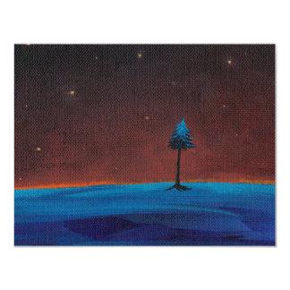 Dark night stars landscape lone tree painting art card