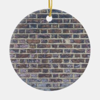 Dark old brick wall texture round ceramic ornament