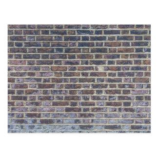Dark old brick wall texture postcard