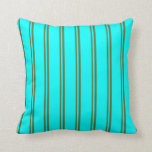 [ Thumbnail: Dark Olive Green and Aqua Striped/Lined Pattern Throw Pillow ]