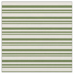 [ Thumbnail: Dark Olive Green and Beige Lined Pattern Fabric ]