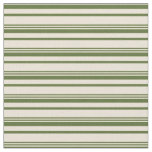 [ Thumbnail: Dark Olive Green and Bisque Colored Lines Fabric ]