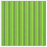 [ Thumbnail: Dark Olive Green and Chartreuse Stripes Pattern Fabric ]