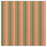 [ Thumbnail: Dark Olive Green and Coral Lined/Striped Pattern Fabric ]