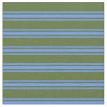 [ Thumbnail: Dark Olive Green and Cornflower Blue Pattern Fabric ]