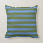 [ Thumbnail: Dark Olive Green and Cornflower Blue Pattern Throw Pillow ]