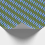 [ Thumbnail: Dark Olive Green and Cornflower Blue Pattern Wrapping Paper ]