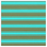 [ Thumbnail: Dark Olive Green and Cyan Lines/Stripes Pattern Fabric ]