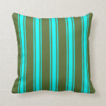 [ Thumbnail: Dark Olive Green and Cyan Lines/Stripes Pattern Throw Pillow ]