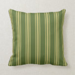 [ Thumbnail: Dark Olive Green and Dark Khaki Striped Pattern Throw Pillow ]