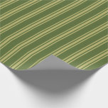 [ Thumbnail: Dark Olive Green and Dark Khaki Striped Pattern Wrapping Paper ]