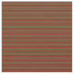 [ Thumbnail: Dark Olive Green and Dark Red Pattern of Stripes Fabric ]