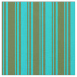 [ Thumbnail: Dark Olive Green and Dark Turquoise Lines Fabric ]