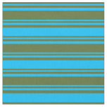 [ Thumbnail: Dark Olive Green and Deep Sky Blue Lines Pattern Fabric ]
