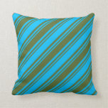 [ Thumbnail: Dark Olive Green and Deep Sky Blue Lines Pattern Throw Pillow ]