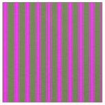 [ Thumbnail: Dark Olive Green and Fuchsia Stripes Pattern Fabric ]