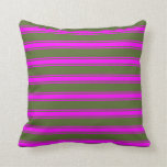 [ Thumbnail: Dark Olive Green and Fuchsia Stripes Pattern Throw Pillow ]
