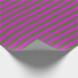 [ Thumbnail: Dark Olive Green and Fuchsia Stripes Pattern Wrapping Paper ]