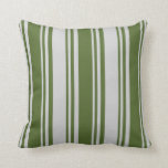[ Thumbnail: Dark Olive Green and Light Gray Stripes Pattern Throw Pillow ]