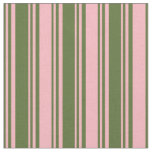 [ Thumbnail: Dark Olive Green and Light Pink Colored Lines Fabric ]
