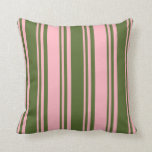 [ Thumbnail: Dark Olive Green and Light Pink Colored Lines Throw Pillow ]