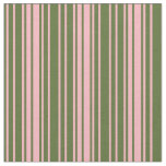 [ Thumbnail: Dark Olive Green and Light Pink Stripes Fabric ]