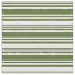 [ Thumbnail: Dark Olive Green and Mint Cream Colored Lines Fabric ]