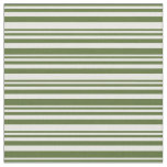 [ Thumbnail: Dark Olive Green and Mint Cream Lined Pattern Fabric ]