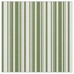 [ Thumbnail: Dark Olive Green and Mint Cream Stripes Pattern Fabric ]