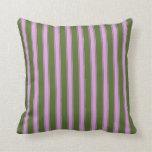 [ Thumbnail: Dark Olive Green and Plum Stripes Pattern Pillow ]